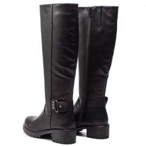 Jenny Fairy Leatherette Knee High Boots Black